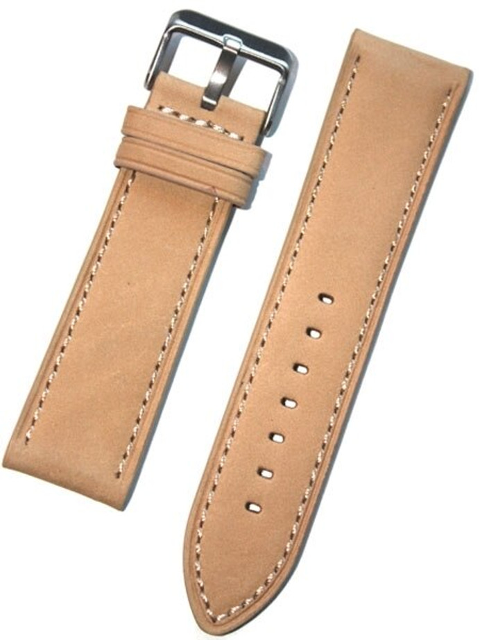 Panerai-Style Tan Suede Leather Strap with Matching Stitching #EBV-03813