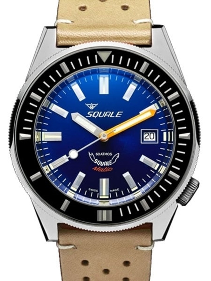 Squale Matic 600 meter Professional Swiss Automatic Dive watch with 44mm Polished Case #Matic-Navy-Pol