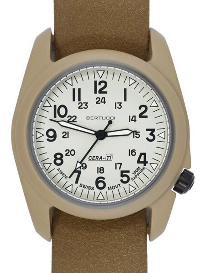 Bertucci A-2CT Cera-Ti™ Ceramic Coated Titanium Field Watch with Swiss Quartz Movement #12139