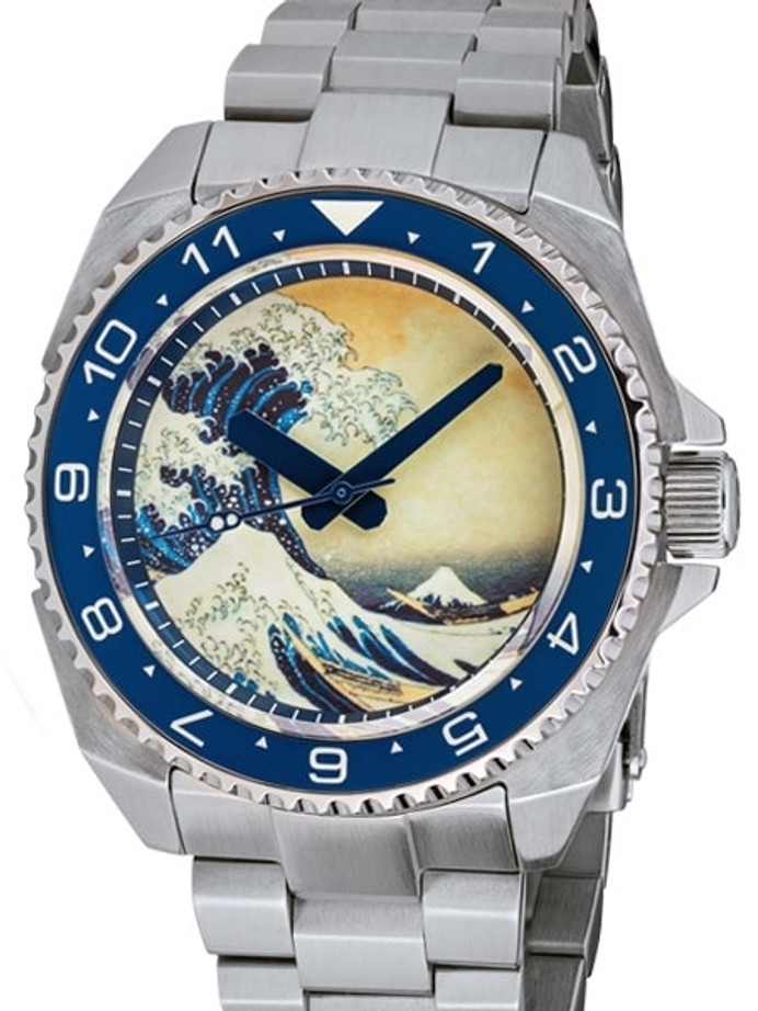 Islander Luminous Wave Dial Automatic Dive Watch with AR Double-Dome Sapphire Crystal, and Lumious Ceramic Bezel Insert #ISL-62