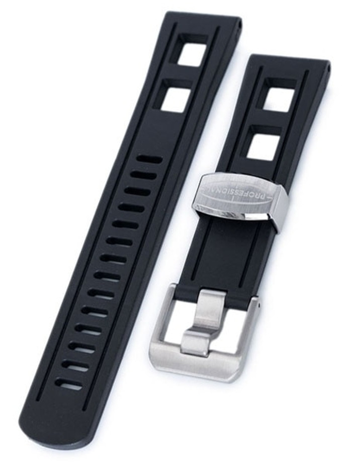 Crafter Blue 22mm Straight-End Rubber Watch Strap #CB01-A