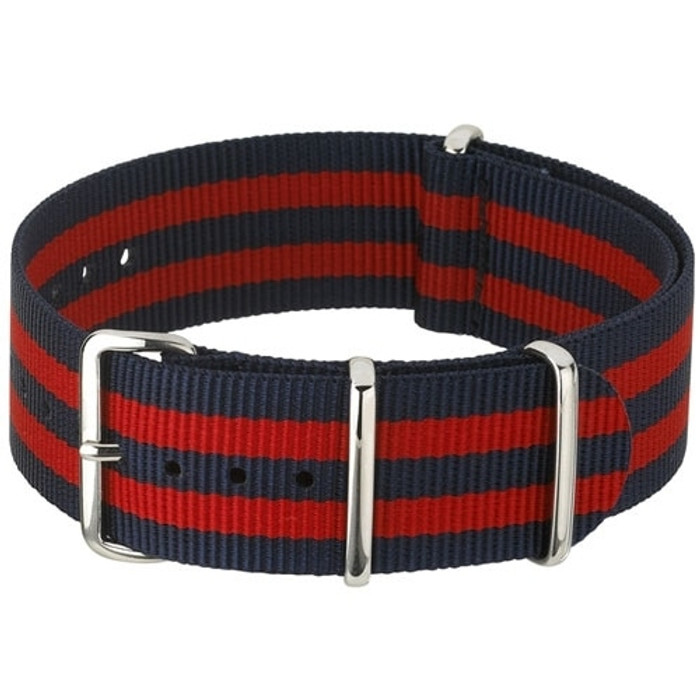 NATO-Style Blue and Red Striped Nylon Strap with Stainless Steel Buckles  #NATO-6-SS