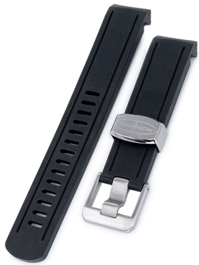 Crafter Blue 20mm Curved-End Rubber Watch Strap for Seiko Sumo #CB02-A