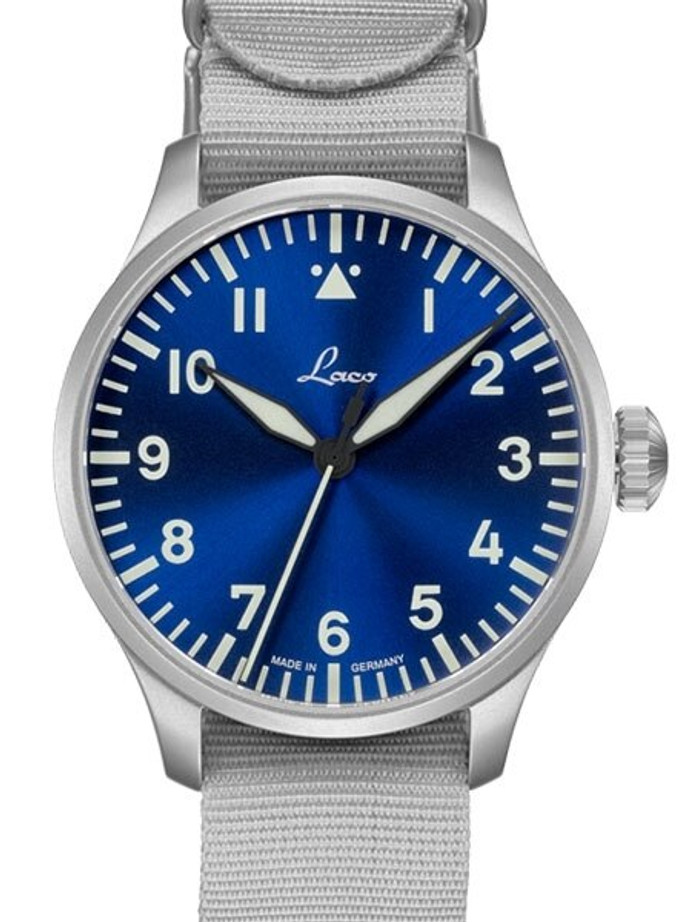 Laco 39mm Augsburg Blaue Stunde Automatic Pilot Watch with Sapphire Crystal #862102