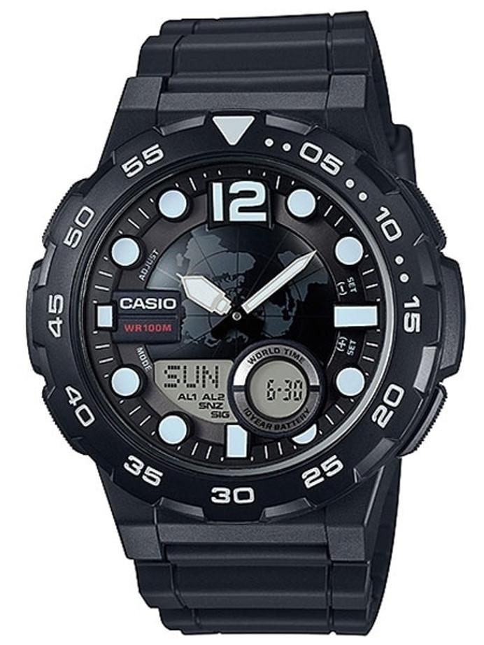 Casio Analog-Digital World Time Alarm Watch with 29 Time Zones #AEQ-100W-1A