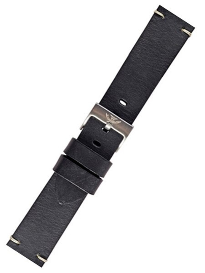 Squale 1521 OEM 20mm Black Leather Watch Strap #1521-BLK-LTHR