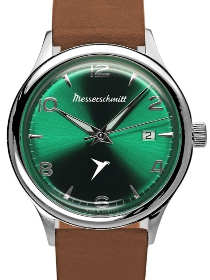 Messerschmitt Radiant Green Dial Swiss Quartz Watch with Brown Leather Strap #KR500-GRB