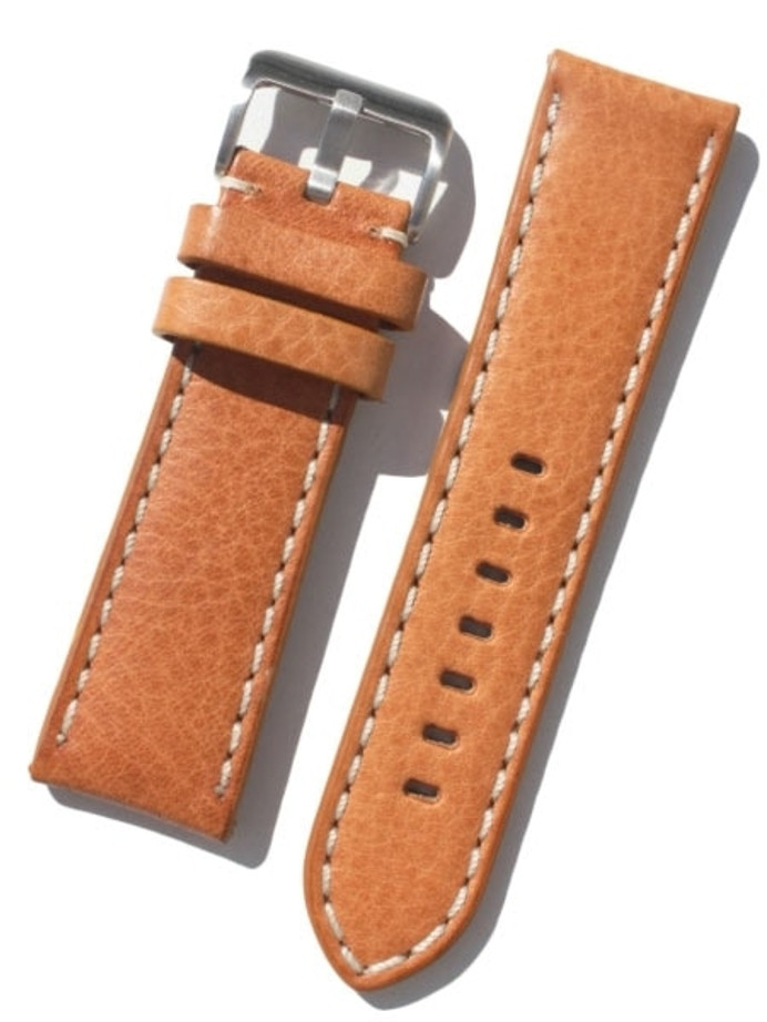 Toscana PANERAI Style Tan Italian Leather Strap with Contrasting Stitching #LBV-98220