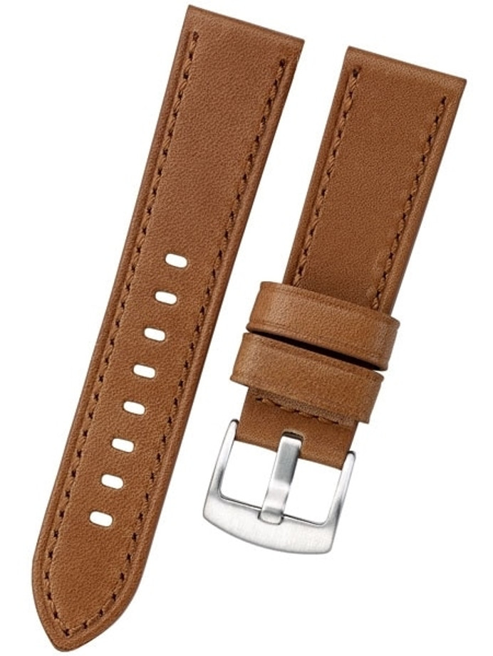Horween Panerai-Style, Honey-Brown Calfskin Leather with Stainless Steel Buckle #INS-HORPAN03