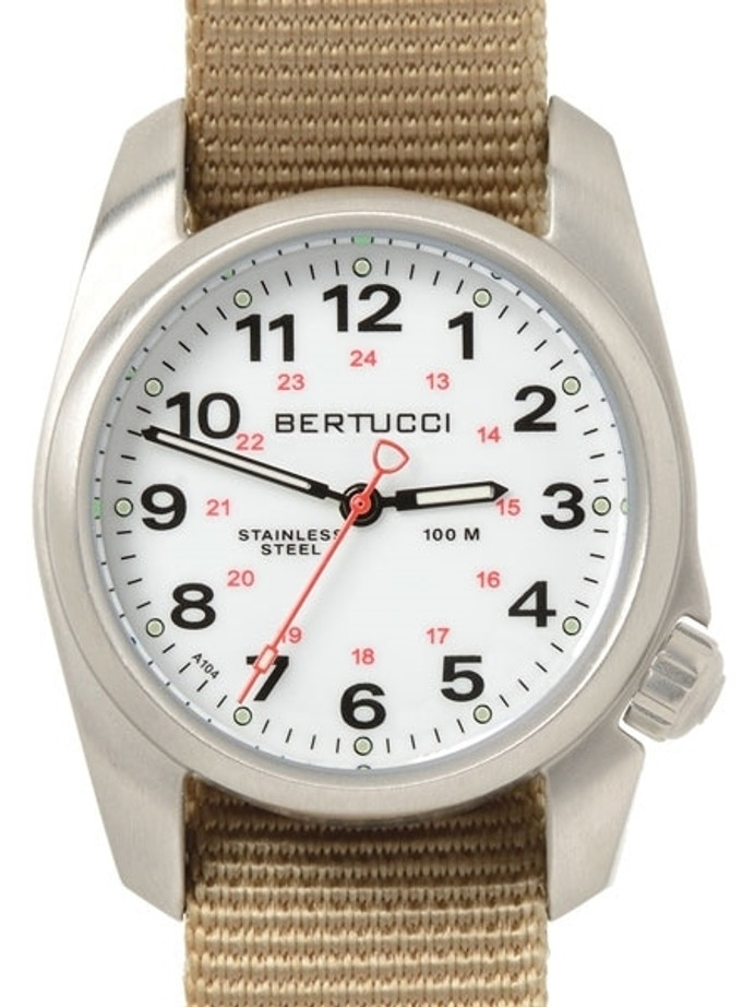 Bertucci A-1S Stainless Steel Watch with a Khaki Nylon Strap #10200