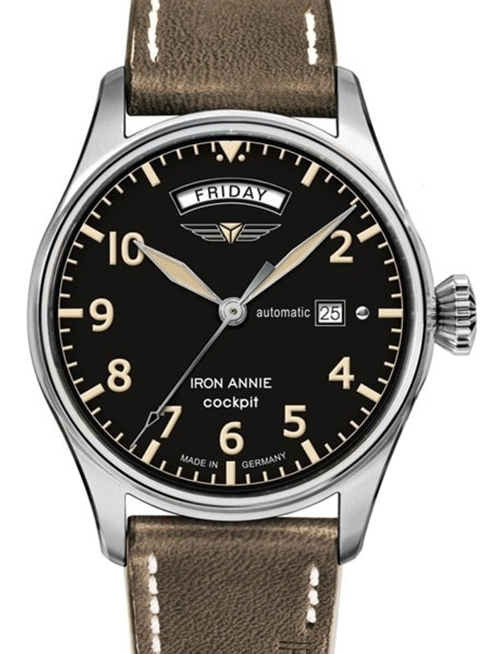 Iron Annie 42mm Cockpit Automatic Watch with Day and Date #5164-2