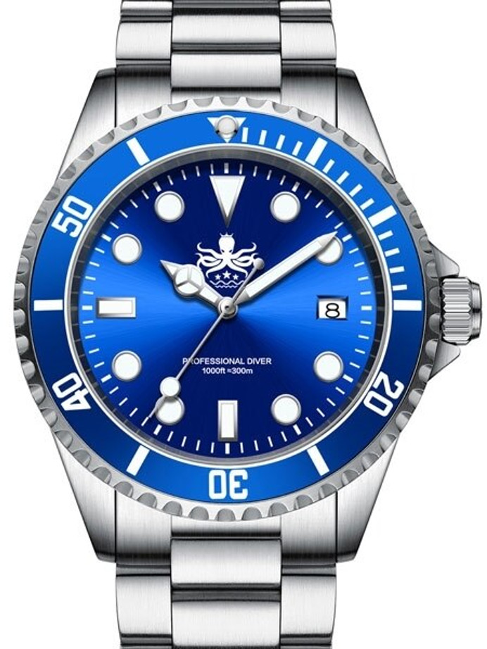 PHOIBOS 300-Meter Swiss Quartz Dive Watch with Sapphire Crystal #PX002B