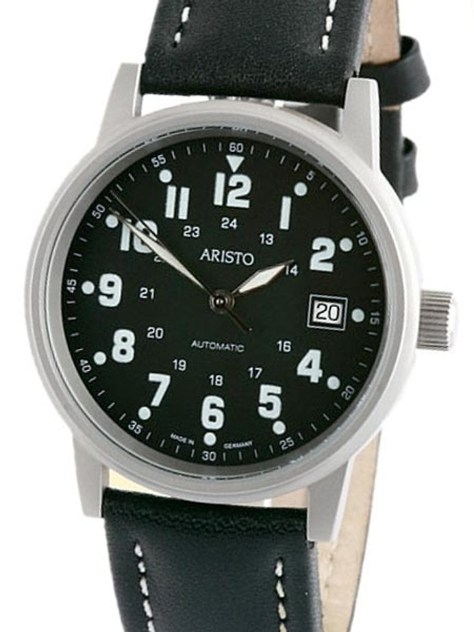 Aristo 3H110 Black Dial Military Style Swiss Automatic Watch