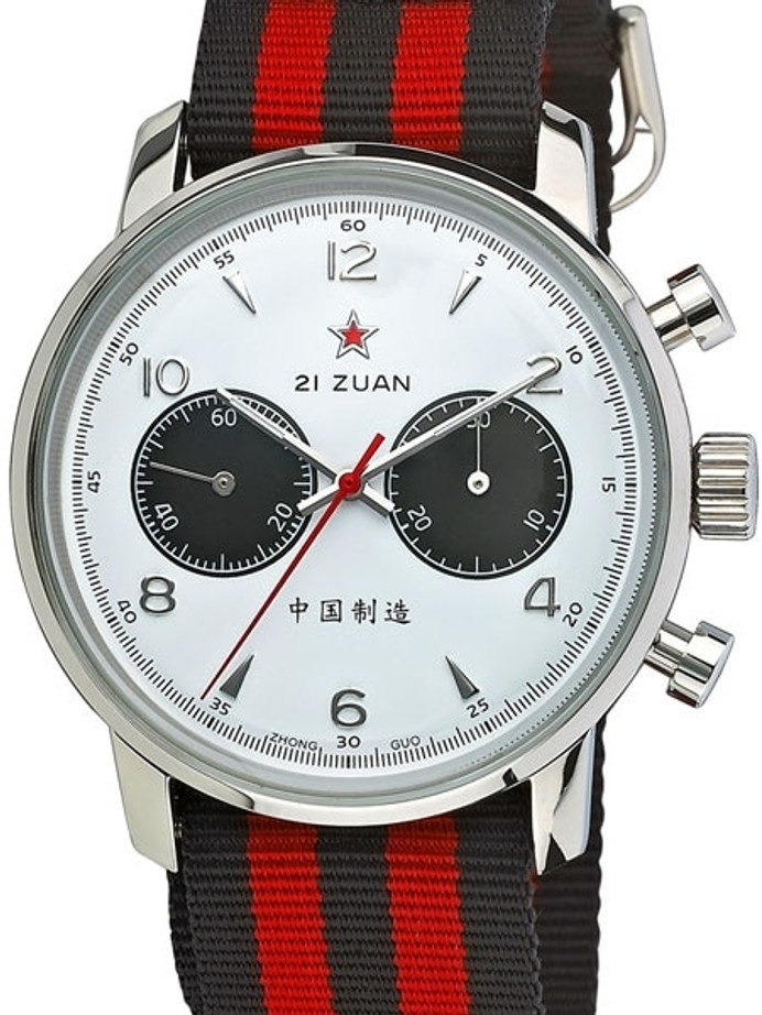 Seagull 1963 Hand Wind Mechanical Chronograph with White Dial #6488-2901W