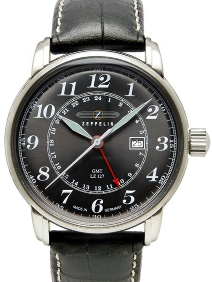 Graf Zeppelin Dual Time, GMT Watch  with Red 24-hr Hand. #7642-2