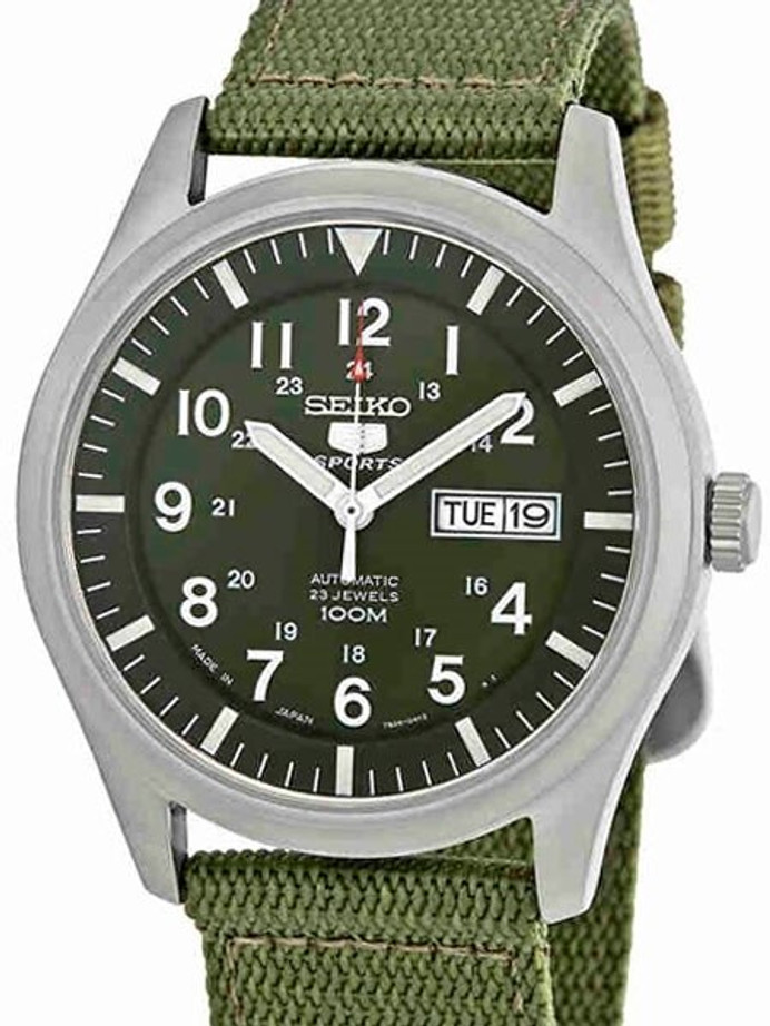 Seiko Military Dark Green Dial Automatic Watch with 42mm Case, Green Canvas Strap #SNZG09J1