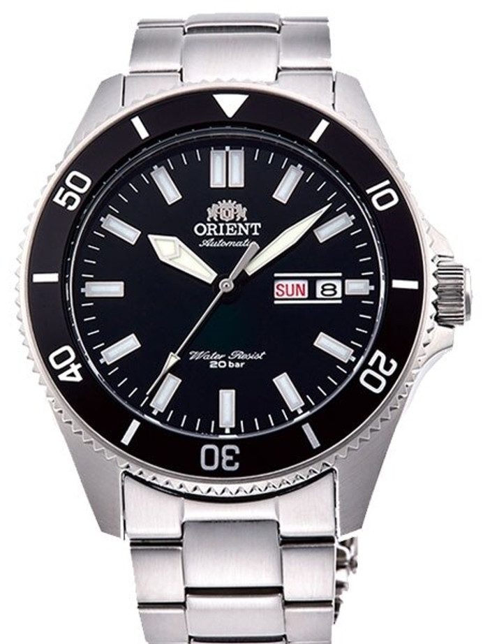 Orient Kanno Black Dial Automatic Dive Watch with Stainless Steel Bracelet #RA-AA0008B19A