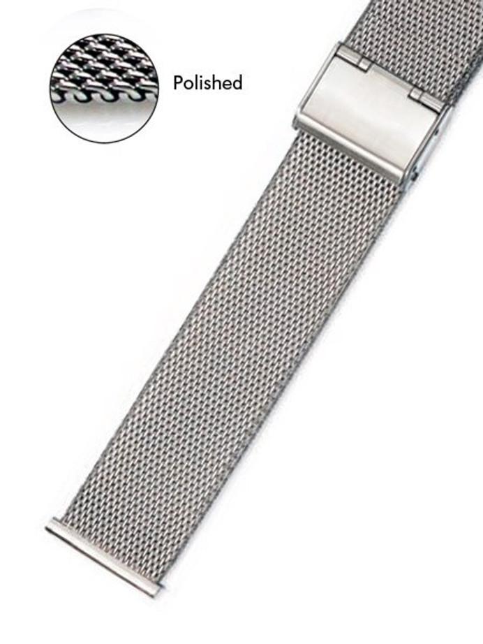 Vollmer Polished Mesh Bracelet with Easy Adjust Push Buckle #90460H4 (22mm)