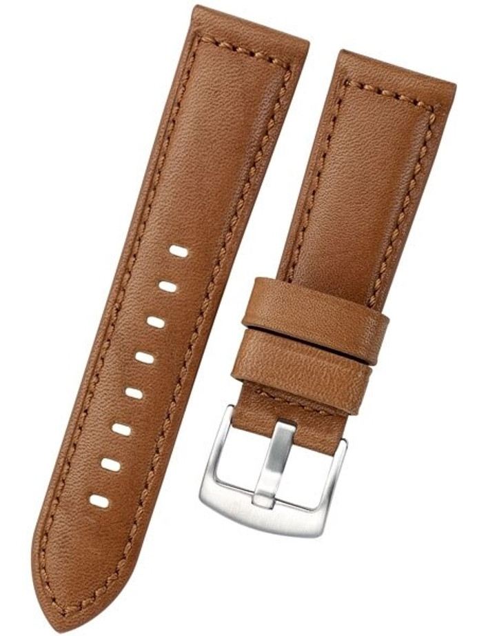 Horween Panerai-Style, Honey-Brown Calfskin Leather with Thick Padding at the Lugs #INS-HORPAD03