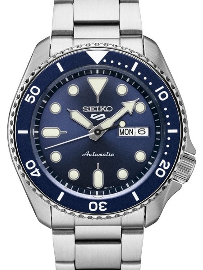 Seiko 5 Sports 24-Jewel Automatic Watch with Blue Dial and SS Bracelet #SRPD51