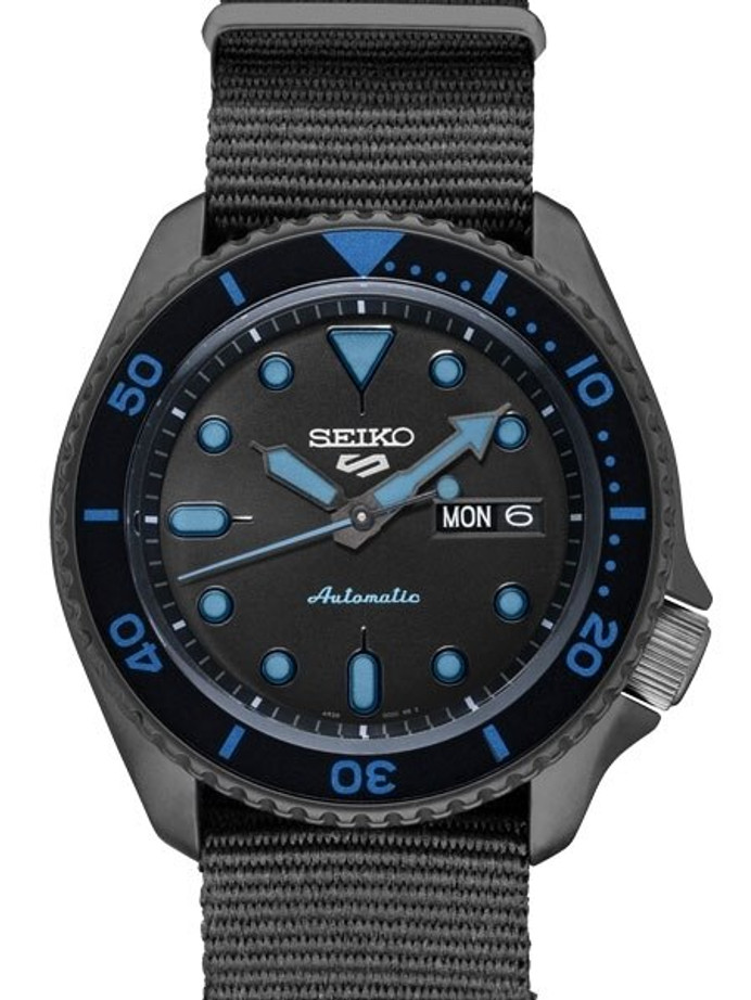 Seiko 5 Sports 24-Jewel Automatic Watch with Black Dial and Black PVD Case #SRPD81