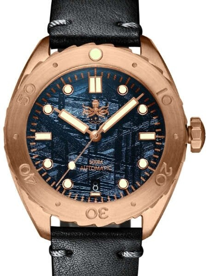 PHOIBOS Eagle Ray 500-Meter Swiss Automatic Dive Watch with Bronze Case, Blue Meteorite Dial #PY018E