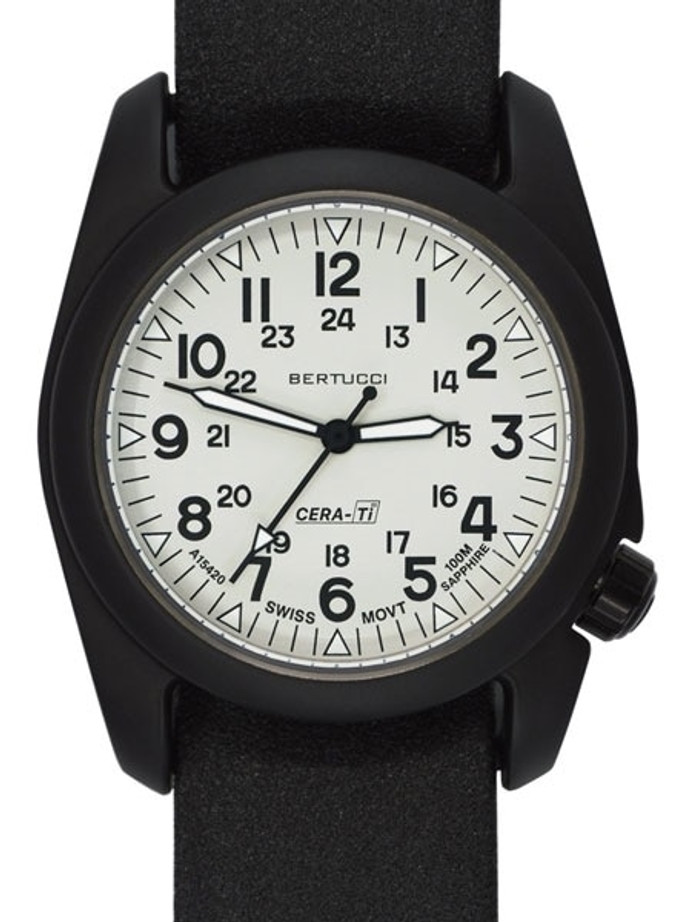Bertucci A-2CT Cera-Ti™ Ceramic Coated Titanium Field Watch with Swiss Quartz Movement #12137