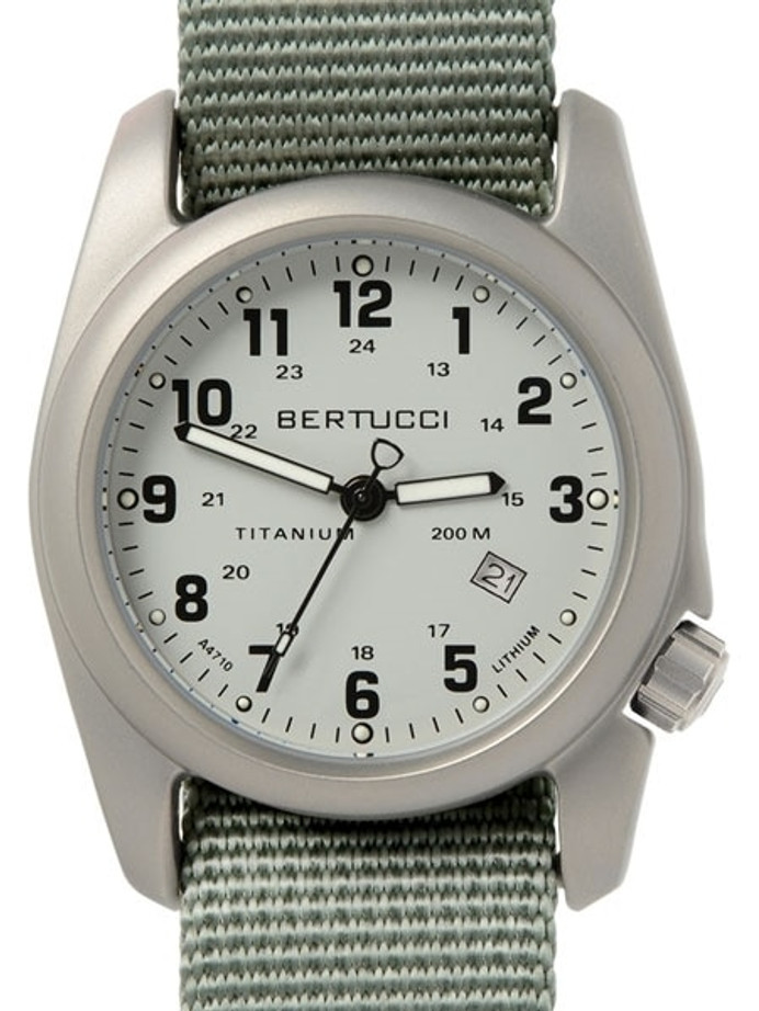 Bertucci A-2T Silver Dial Titanium Watch with Olive Nylon Strap #12703
