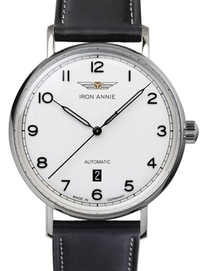 Iron Annie Amazonas Impression Swiss Automatic Dress Watch with White Dial, Date #5954-1