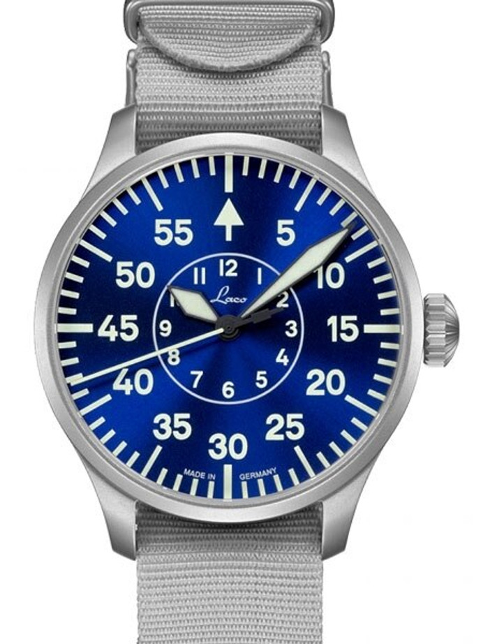Laco 39mm Aachen Blaue Stunde Automatic Pilot Watch with Sapphire Crystal #862103