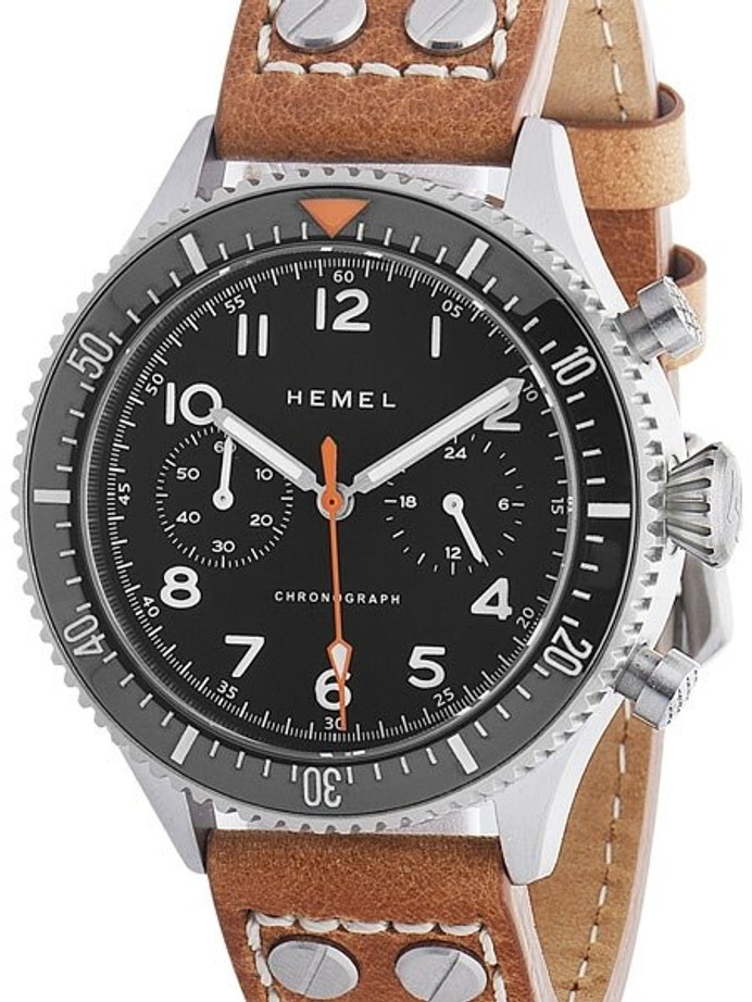 HEMEL 24 Quartz Chronograph Watch with 60-Minute Ceramic Bezel and Sapphire Crystal #HFT20-VK1
