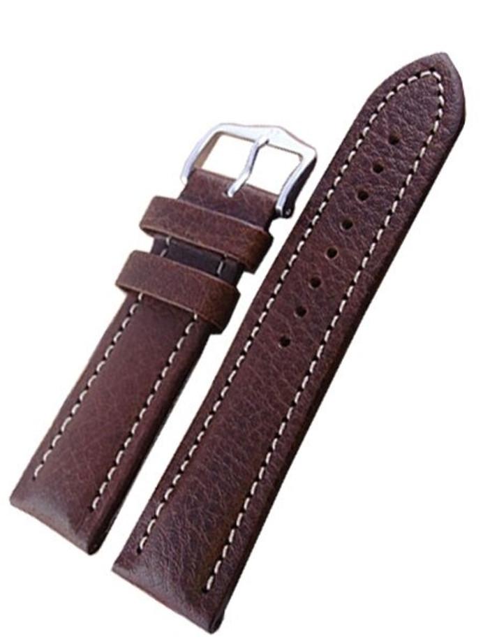 Hirsch Buffalo Brown High Grain Leather Watch Strap #113202-15