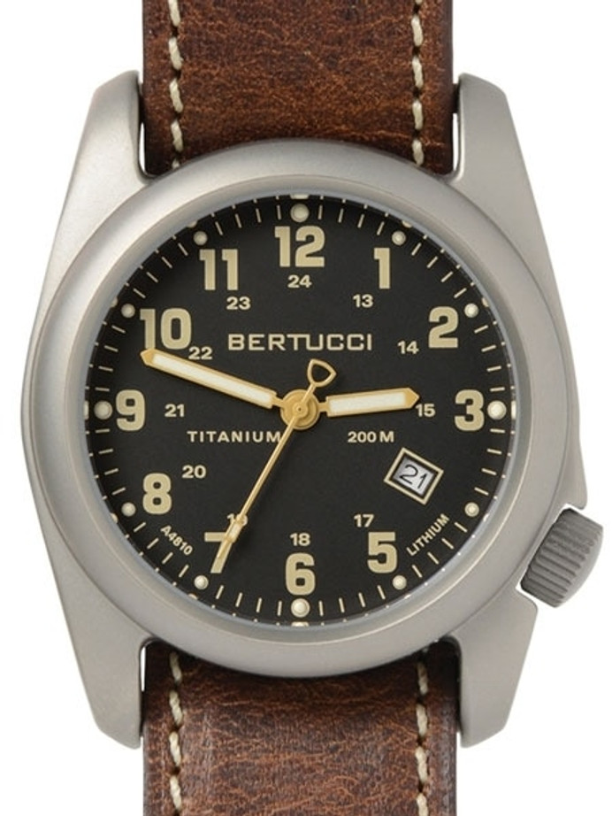 Bertucci A-2T Titanium Watch, 10-Year Lithium Battery, Horween Leather #12712