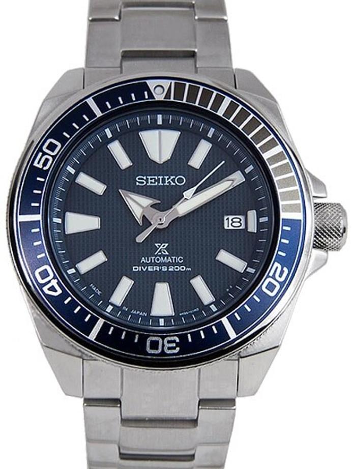 Seiko Samurai Prospex Automatic Dive Watch with Blue Dial and Bracelet #SRPB49J1