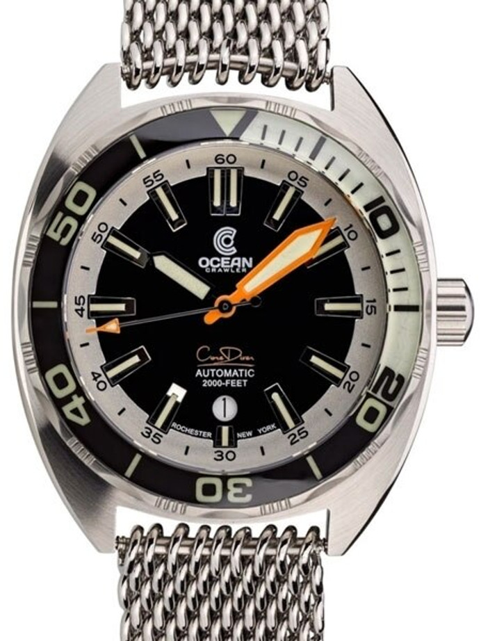 Ocean Crawler 600-Meter Core Swiss Automatic Dive Watch, with Luminous Sapphire Bezel Insert #1293