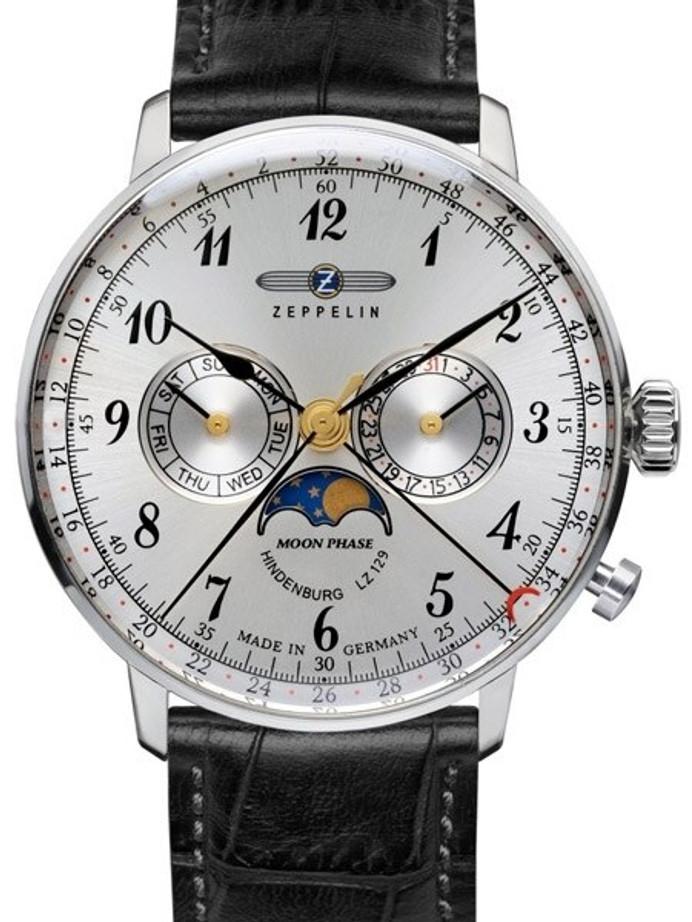 Graf Zeppelin Hindenburg Swiss Quartz Moonphase Calendar Watch #7036-1