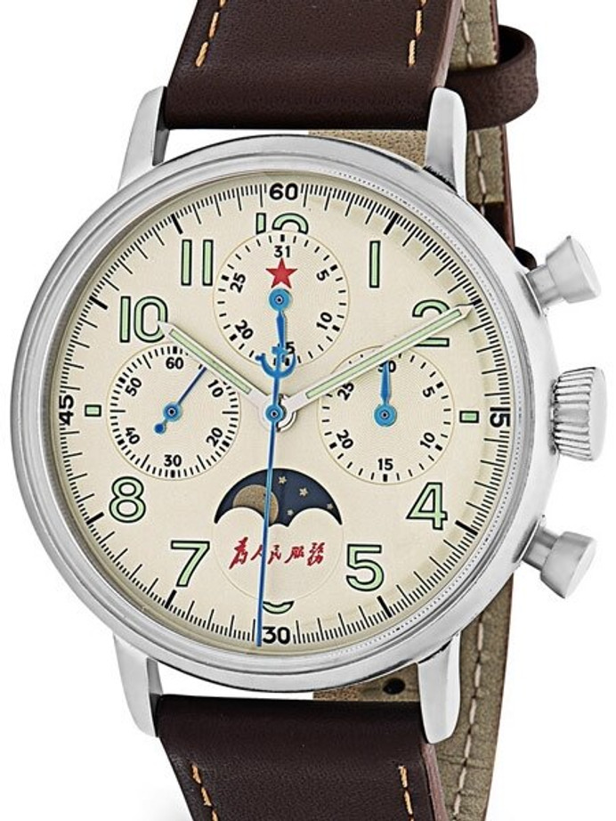 Red Star Hand Wind Mechanical Chronograph with Moonphase #7756G-D