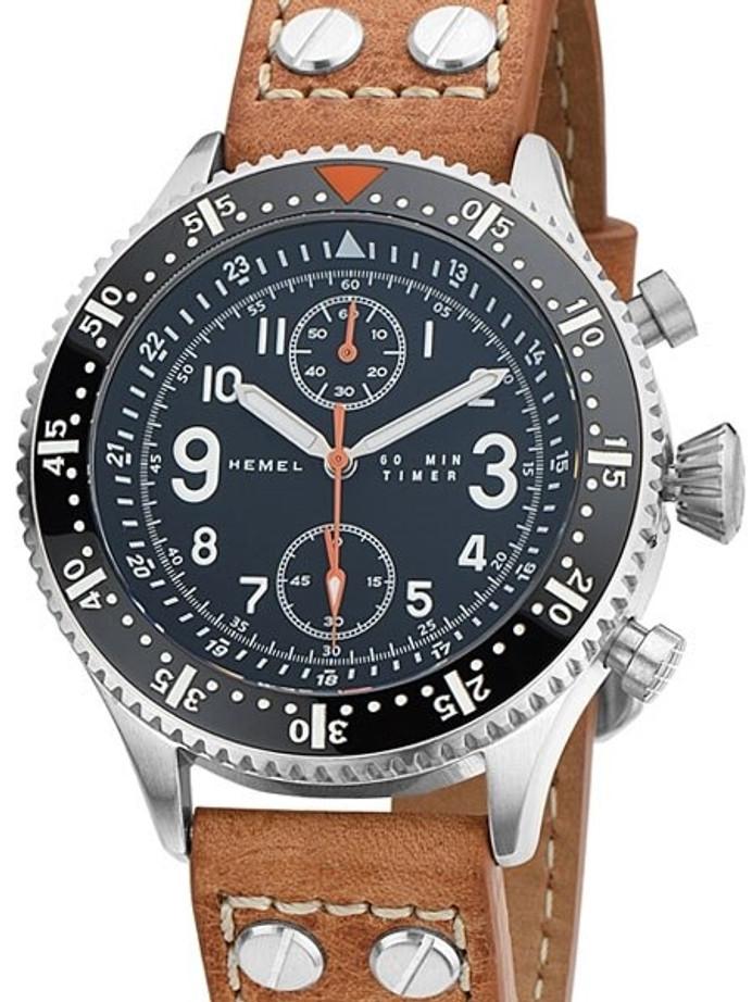 HEMEL Brabant Quartz Chronograph Watch with 60-Minute Stopwatch and AR Sapphire Crystal #HF5