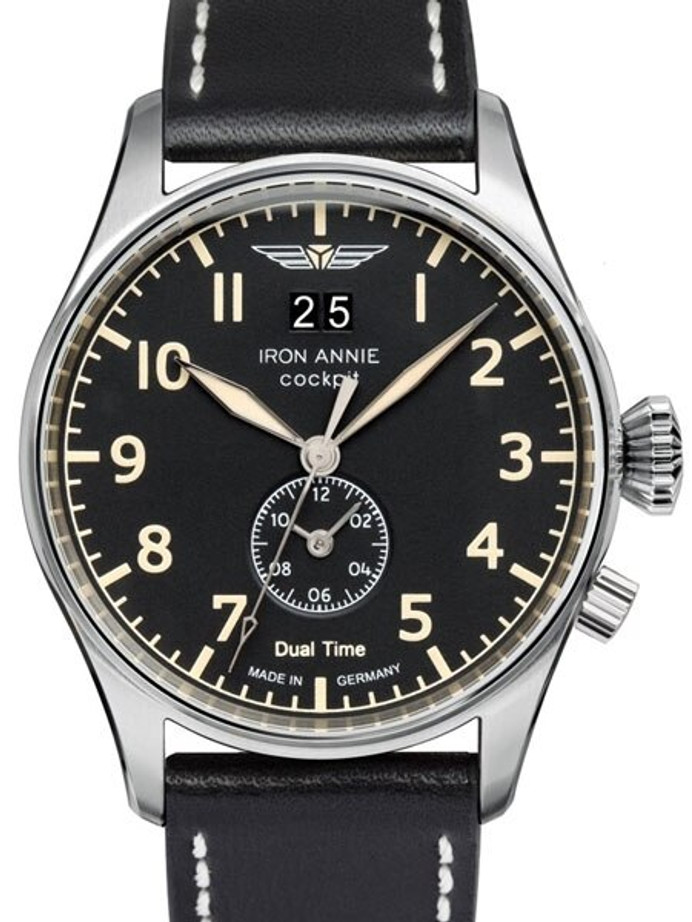 Iron Annie Big Date, Dual Time Pilot Watch with Two Crowns #5140-2