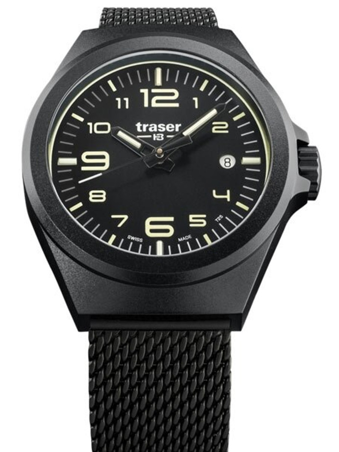 Traser P59 Essential S Black Dial Watch w/Trigalight + SuperLuminova #108204