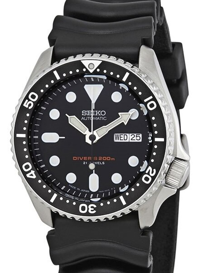 Seiko Automatic Dive Watch with Offset Crown and Rubber Dive Strap #SKX007J