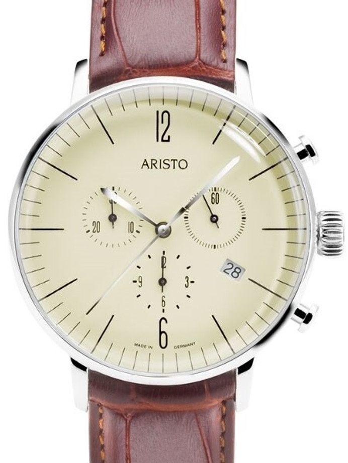 Aristo Bauhaus Swiss Quartz Chronograph Watch with 12-Hr Totalizer #4H152