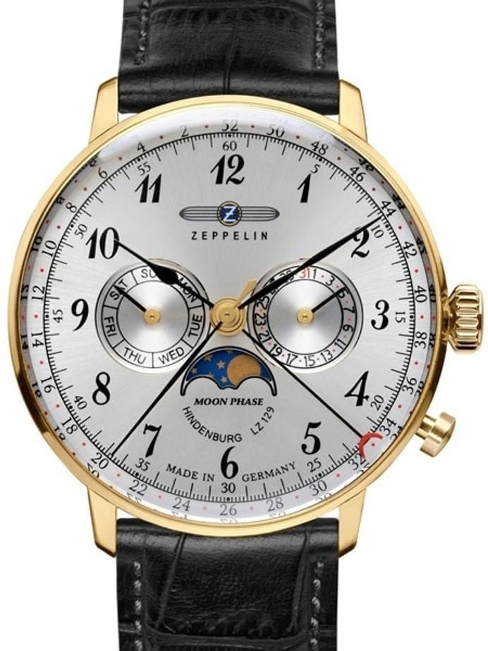 Graf Zeppelin Hindenburg Swiss Quartz Moonphase Calendar Watch #7038-1
