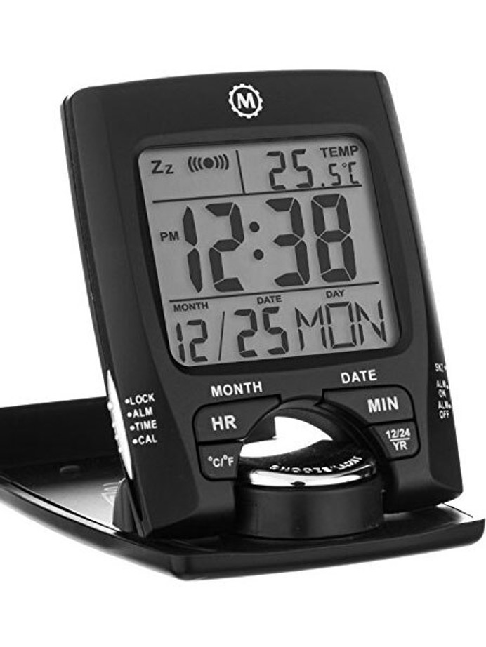 Marathon Travel Alarm Clock with Calendar, Temperature, 12 or 24 Hour Format #CL030023BK