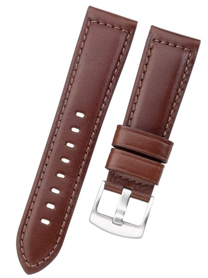 Horween Panerai-Style, Brown Calfskin Leather with Thick Padding at the Lugs #INS-HORPAD02