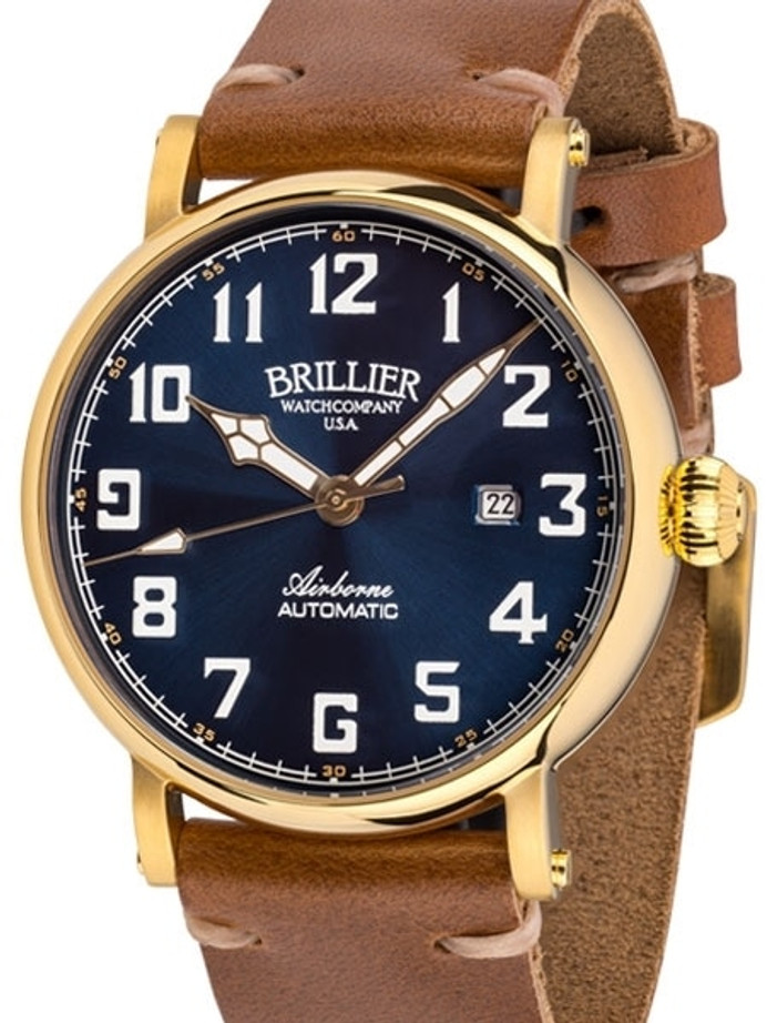 Brillier Blue 43mm Airborne Automatic Watch with Horween Leather Strap #BR-18
