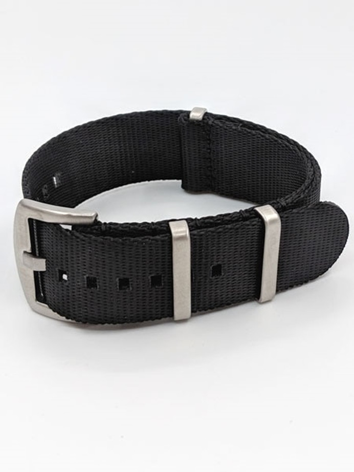 NATO-Style Black Seat Belt Weave Nylon Strap with Stainless Steel Buckle #SB-10-SS