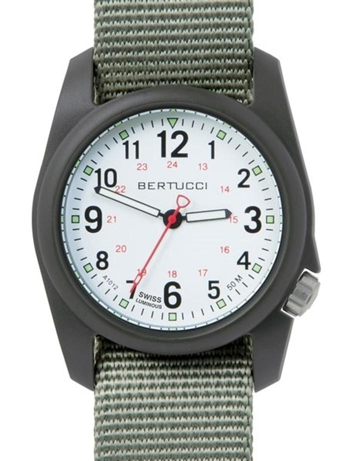 Bertucci DX3 Field Resin Watch, Defender Drab Nylon Strap, White Dial - 11019