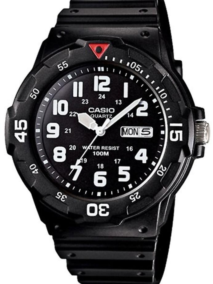 Casio Black Resin Quartz Analog Diver-Style Watch with Rotating Bezel #MRW-200H-1B