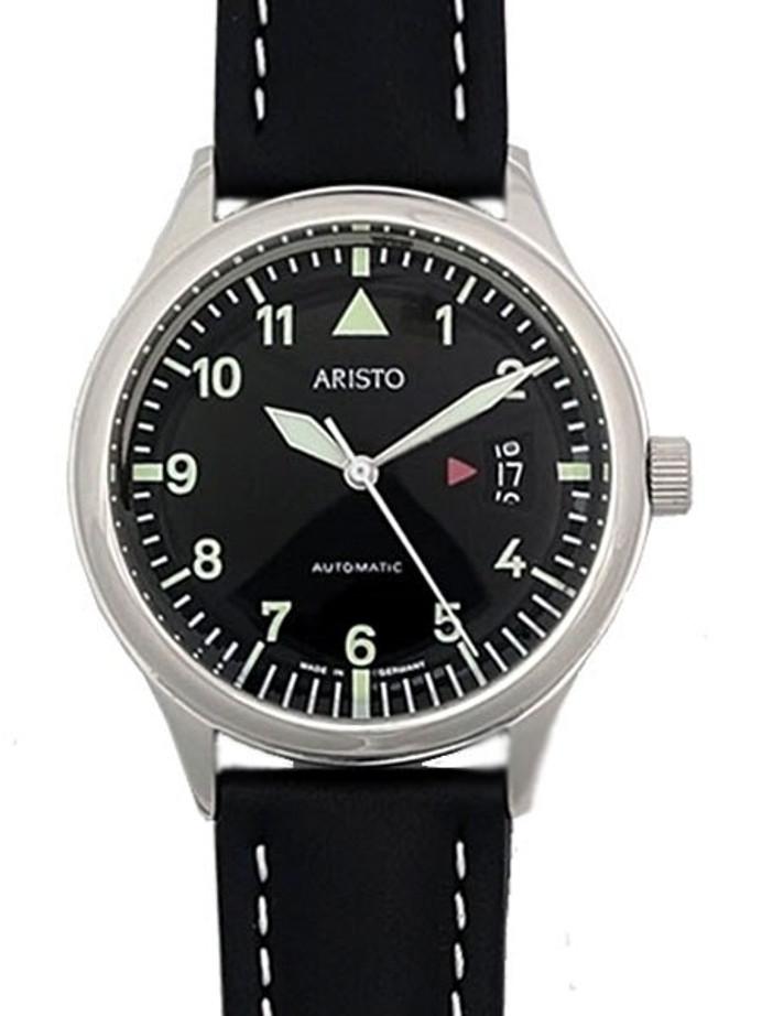 Aristo 4H354 Black Dial Swiss Automatic Open Date Window Watch
